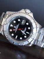 นาฬิกา Rolex Yacht Master หน้าปัดสีดำ สายเลสสีเงิน รุ่นดังในปัจจุบัน สวยมากๆ