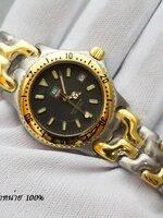 นาฬิกา TAG Professional 200 Metre สายทรงก้างปลายอดนิยม ฮิตสุดๆ หน้าปัดสีดำ สาย 2 k เงินทอง