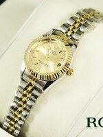 นาฬิกา Rolex หน้าปัดสีทอง ตัวเรือน 2กษัตริย์ เรือนหน้าปัดขนาด 2.6 ซม. Lady