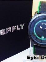 นาฬิกา Overfly eyki แท้ 100% Day หน้าปัดสีเขียว สายหนังด้ายเขียว รุ่นใหม่ล่าสุด