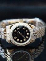 นาฬิกา Rolex DateJust Gold Lady งานเกรด Mirror สายจูบิรี่ หน้าปัดสีดำฝังเพชร สายสีทอง รุ่นดัง