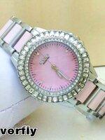 นาฬิกา Overfly eyki แท้ 100% Lady ล้อมเพชร หน้าปัดสีชมพู รุ่นใหม่ล่าสุด