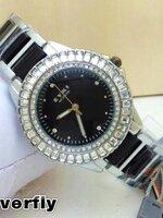 นาฬิกา Overfly eyki แท้ 100% Lady ล้อมเพชร หน้าปัดสีดำ รุ่นใหม่ล่าสุด