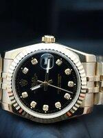 นาฬิกา Rolex DateJust Gold งานเกรด Mirror สายจูบิรี่ หน้าปัดสีดำ สายสีทอง 40 mm. king Size