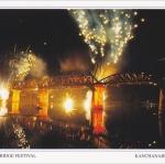 โปสการ์ด สะพานข้ามแม่น้ำแคว จังหวัดกาญจนบุรี /สะพาน/พลุ/ดอกไม้ไฟ