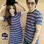 เสื้อคู่รัก ชุดผ้ายืดโทนสีเข้มริ้วหลากสี thumbnail 2