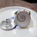 แหวนเครื่องรางจากหอยตาที่ 3 ของพระศิวะ Shiwa Eye ตัวเรือนเงินแท้