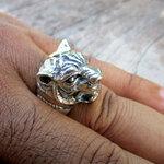 แหวนเงินแท้ หัวเสือ โครงสร้างสมจริง หนาสวยมาก