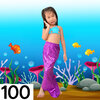 NB005-100 ชุดว่ายน้ำเด็ก หางนางเงือก สี ฟ้า ม่วง มีเกล็ด กระโปรง สามารถนำขาออกได้ ทรง 1 ชุด มี 3 ชิ้น