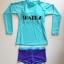 SM-V1-537 ชุดว่ายน้ำแขนยาว เสื้อสีเขียว สกรีนอักษร Shark กางเกงขาสั้นสีม่วง thumbnail 2
