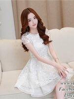 White pincess girls party dress ชุดเดรสสีขาว ไปงานสวยๆ แนวหวานสไตล์เกาหลี