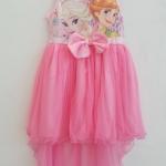 Disney : เดรส เจ้าหญิงเอลซ่า แอนนา ผ้ายืด ตัดต่อกระโปรงผ้าตาข่าย ด้านหน้าสั้น หลังยาว สีชมพู ผ้านิ่มค่ะ