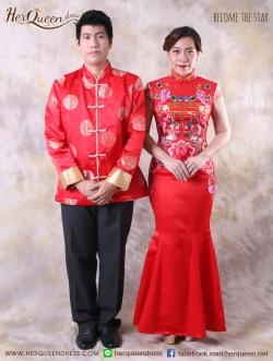เช่าชุดราตรี &#x2665 ชุดแต่งงานพิธีจีน ชุดงานยกน้ำชา เซ็ทเป็ดคู่ และอักษรมงคล - คู่