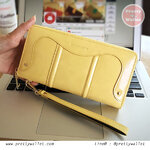 กระเป๋าสตางค์ Oudishengma สีเหลือง ใบยาว ซิปรอบ