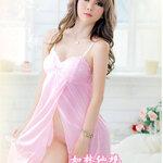 san169 ชุดนอนเกาหลี ชุดนอนน่ารัก สีชมพู เปิดหน้า วาบหวิว สาวอวบใส่ได้