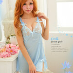 SAN301 ชุดนอนน่ารัก ชุดนอนวาบหวิว อกลูกไม้ สีฟ้า ชายแหวกข้างนิดๆ สวยร่าเริง