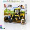 B0538 ตัวต่อเลโก้จีน Construction รถตัก Bulldozer ในไซต์งาน