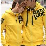 เสื้อคู่รักเกาหลี เสื้อกันหนาวคู่รัก ชาย + หญิง เสื้อหนาวแขนยาว สีเหลือง มีฮูด  +พร้อมส่ง+