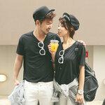 +พร้อมส่ง+ เสื้อคู่รักเกาหลี แฟชั่นคู่รัก ชายหญิง เสื้อยืดแขนสั้นสีดำ