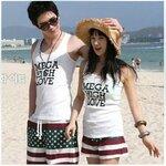 ชุดคู่รัก เสื้อคู่รักเกาหลี เสื้อผ้าแฟชั่น ชาย หญิง เสื้อกล้ามสีขาว + กางเกงลายยางยืด +พร้อมส่ง+