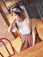 เดรสเกาหลี สายเอี้ยม ลายจุด สีตามรูป  (ไม่รวมเสื้อตัวในค่ะ)