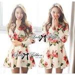 Lady Matina Flowery Blossoms Flared Dress Size M : เดรสระบายพิมพ์ลายดอกไม้สีสันสดใส ขนาด M