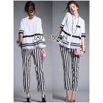 [พร้อมส่ง] เสื้อผ้าแฟชั่นเกาหลี Lady Ribbon's Made เซ็ตเสื้อเชิ้ตทรงเพปลัมและกางเกงขายาวลายทางสุดชิค เซ็ต 2 ชิ้น