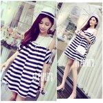 Korean Striped Cut out shoulder dress เดรสสไตล์เกาหลีลายทางสีขาวกรม