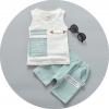 ชุดเซตเสื้อลายตัวหนังสือ+กางเกงสีเขียวอมฟ้า