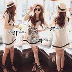 Lady Pamela Graphic Chic Black and White Linen Dress Size M : เดรสพิมพ์ลายกราฟิกสุดชิค ขนาด M