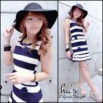 2Tone Striped Dress with 3D Rose เดสลายทูแทนแต่งดอกไม้ สีขาวกรม