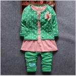 เสื้อ+กางเกง สีเขียว แพ็ค 4ชุด ไซส์ (เหมาะสำหรับ0-4ขวบ)