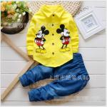 เสื้อ+กางเกง สีเหลือง แพ็ค 4ชุด ไซส์ (เหมาะสำหรับ0-4ขวบ)