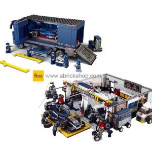 รถแข่ง (Formula cars) S-set 2. ตัวต่อเลโก้จีน ชุดคอกพิทพร้อมขถบรรทุก (ชุด 2 กล่อง)