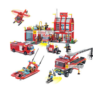 ดับเพลิง  (Fire fight) E-set 4. ตัวต่อเลโก้จีน สถานีดับเพลิง (ชุด 2 กล่อง)