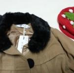 เสื้อกันหนาว เสื้อโค้ทแฟชั่นเกาหลี สีน้ำตาลมีขนเฟอรืสีดำที่คอ