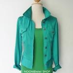 เสื้อแจ็กเก็ตจัมพ์เอวสีเขียว