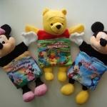 ตุ๊กตาหุ่นมือ disney เป็นหนังสือนิทานภาษาอังกฤษ หัวเป็นตุ๊กตา สามารถสอดมือเพื่อเล่นกับลูกน้อยได้ แพค 3ตัว