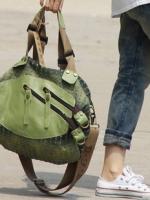 [Pre-order]กระเป๋าสาะพายผ้าใบ ผสมหนัง  สไตร์เกาหลี
