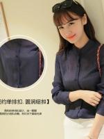 เสื้อคอจีนสวยเท่ห์ สีน้ำเงินเข้ม