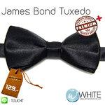 James Bond Tuxedo - หูกระต่าย สีดำ ทักสิโด เนื้อผ้าผิวมันเรียบ Premium+ เกรต A (BT028A) by WhiteMKT