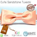 Cute Sandstone Tuxedo - หูกระต่าย สำหรับเด็ก สีโอโรส (15) เนื้อผ้าผิวมัน เรียบ Premium Quality+ (BT396) by WhiteMKT