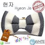 현자 ( Hyeon Ja ) - หูกระต่าย ผ้าถัก แนวตั้ง สีเทา ขาว Indy Style สุด Chic Exclusive (BT335) by WhiteMKT