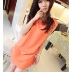 เสื้อผ้าแฟชั่นสไตส์เกาหลี  เดรสแขนกุด สไตส์เรียบๆ สีส้ม  +พร้อมส่ง+