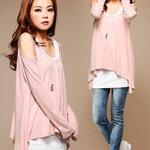เสื้อผ้าแฟชั่นสไตส์เกาหลี เสื้อแซกแขนยาว ทรงผีเสื้อ แต่งเว้าไหล่ สีชมพู +พร้อมส่ง+