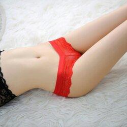 Hot Sexy V Lace Red Panty กางเกงในลูกไม้สีแดงเอวรูปตัววีเซ็กซี่