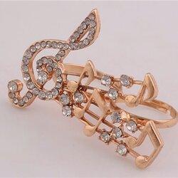 Music Lover My Melody Double Ring แหวนคู่สีทองรูปบันไดเสียงดนตรีแต่งคริสตัล