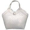 ตะกร้าสานพลาสติก กระเป๋าสานพลาสติก BB-White  กว้าง 14 cm. ยาว 32 cm. สูง 32 cm.