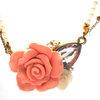 Vintage Fashion Metal and Pearl short Necklece Sweet Old-Rose