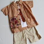 Qkidscent ชุด3ชิ้้น เสื้้อเชิ้ต+กล้ามพิมพ์+กางเกงหน้าร้อน ขนาด 12M, 18M, 24M ใส่ได้ถึง 3-4ปี